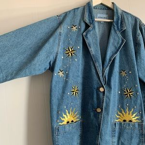 Embroidered Zone Blu NY Denim Jacket